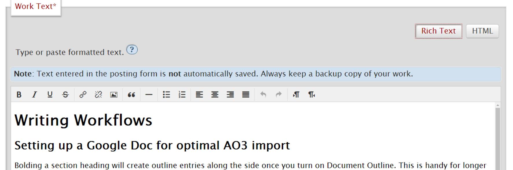 Rich text editor button in AO3