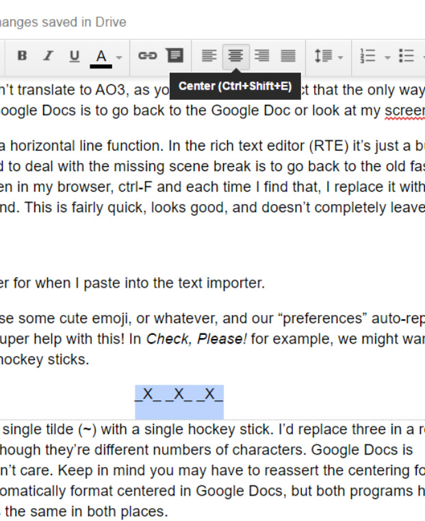 don't bother in Google Docs