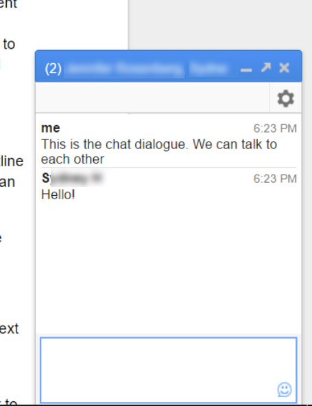 the open chat dialogue
