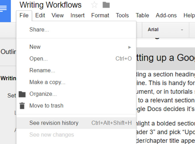 revision history on file menu