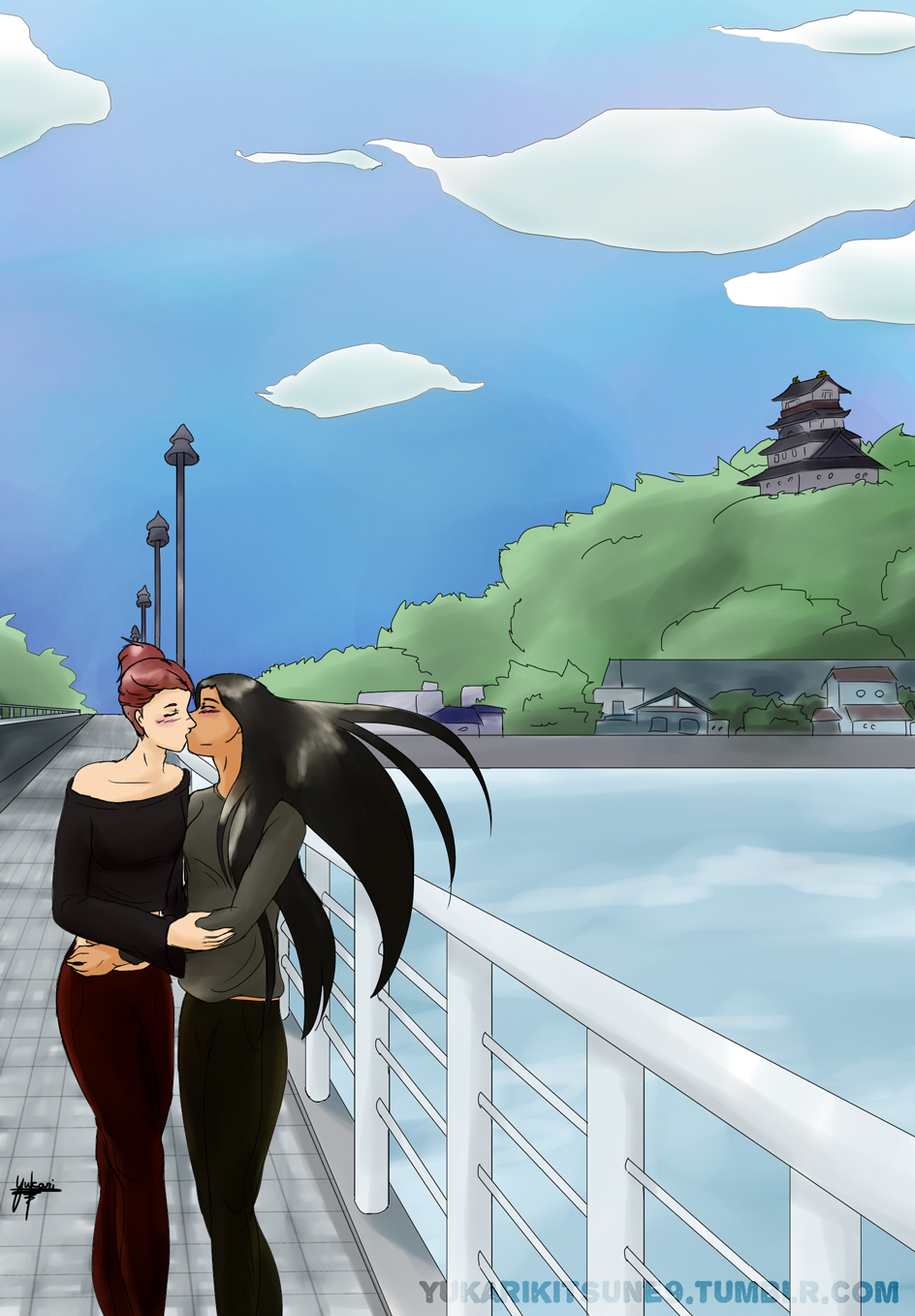 Same as the cover but without text, Mila and Sara on the bridge, kissing.