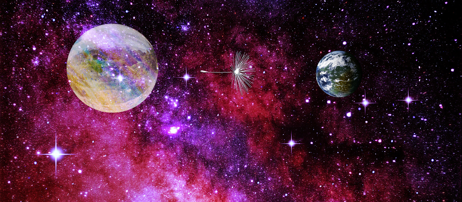 "A fanciful nebula space shot in dark and light reds, purples and blue stars, with a stylized ""bubble"" that contains a city on the left, floating in space, a metallic dandelion seed in the middle, and the planet Lon on the right. The picture has a lot of depth."