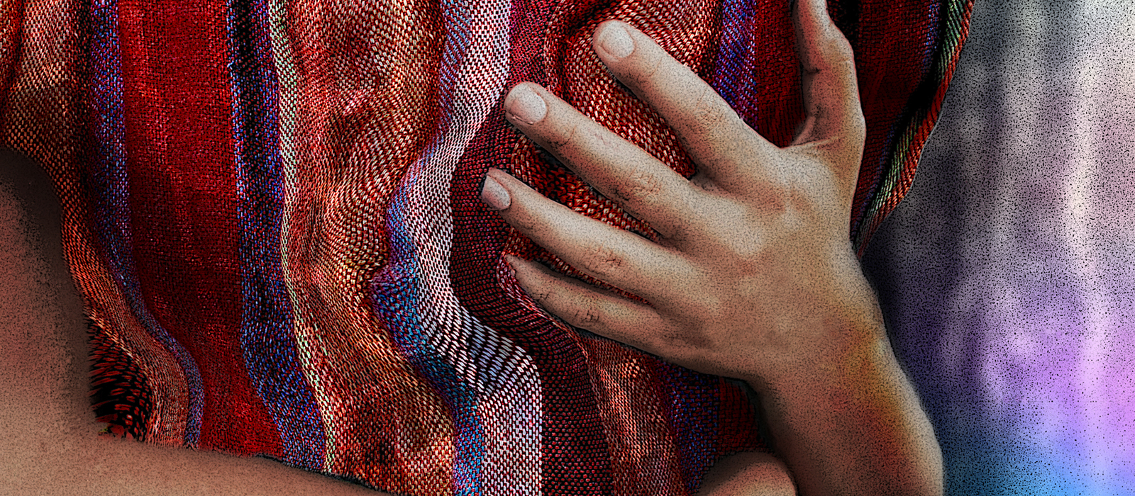 Two brown arms of a child are visible wrapped around an adult torso. The adult is wearing a homespun-looking, madras-style plaid in warm golds, reds, oranges, with blue accents. The image has been heavily composited and processed to look more illustrated than photographed.